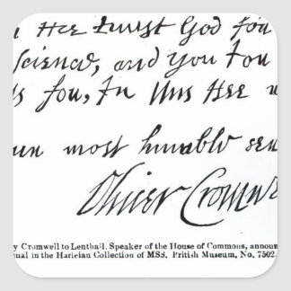 Signature Oliver Cromwell,from handwritten Square Sticker