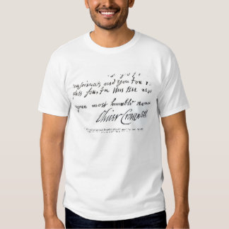 Signature Oliver Cromwell,from handwritten T-shirt