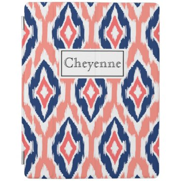 Aztec Themed Signature peach coral navy Ikat Tribal Pattern iPad Smart Cover
