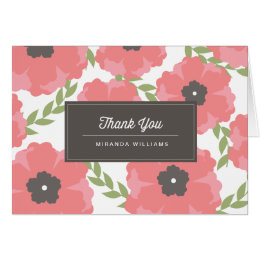 Signature Pink Paper Flowers Thank You Cards