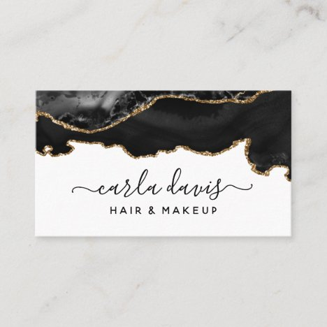Signature Script Black And Gold Agate Marble Business Card