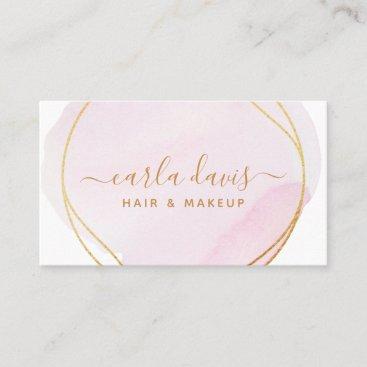 Signature Script Blush Pink Watercolor Gold Circle Business Card