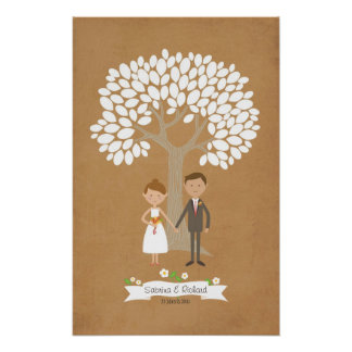 Signature Tree with Cartoon Couple Portrait Poster