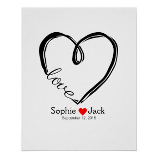 signature wedding guest book infinity heart color