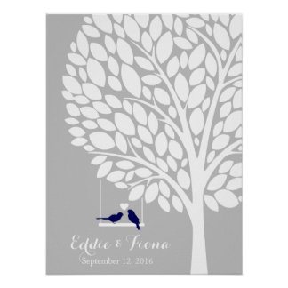 signature wedding guest book tree bird navy