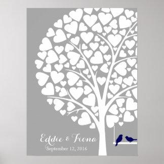 signature wedding guest book tree bird navy