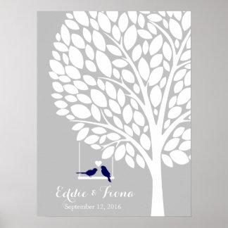signature wedding guest book tree bird navy poster