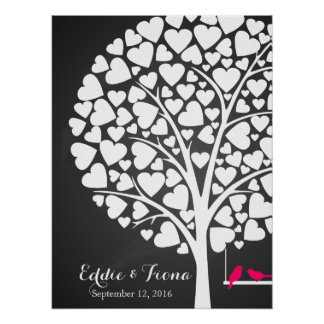 signature wedding guest book tree bird pink