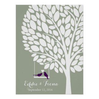 signature wedding guest book tree bird purple