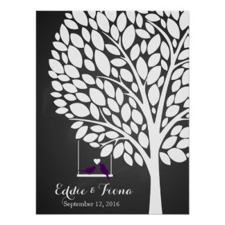 signature wedding guest book tree bird purple