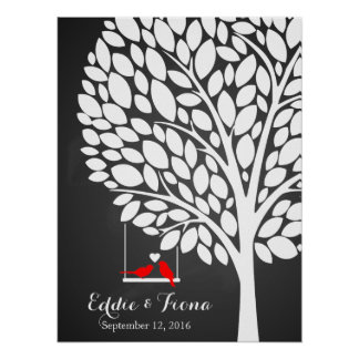 signature wedding guest book tree bird red