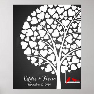 signature wedding guest book tree bird red poster