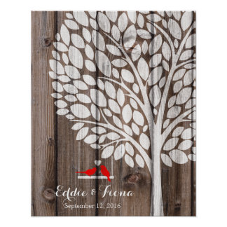 signature wedding guest book tree bird red wood