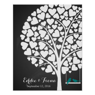 signature wedding guest book tree bird teal