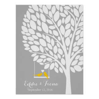signature wedding guest book tree bird yellow