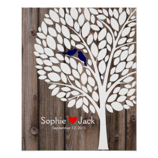 signature wedding guest book tree navy blue wood