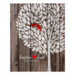 signature wedding guest book tree red wood poster