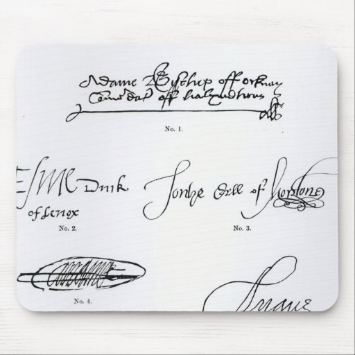 Signatures of 16th and 17th century mouse pad