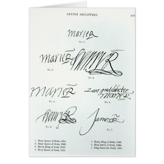 Signatures of Mary Queen of Scots Card