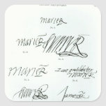 Signatures of Mary Queen of Scots Square Sticker