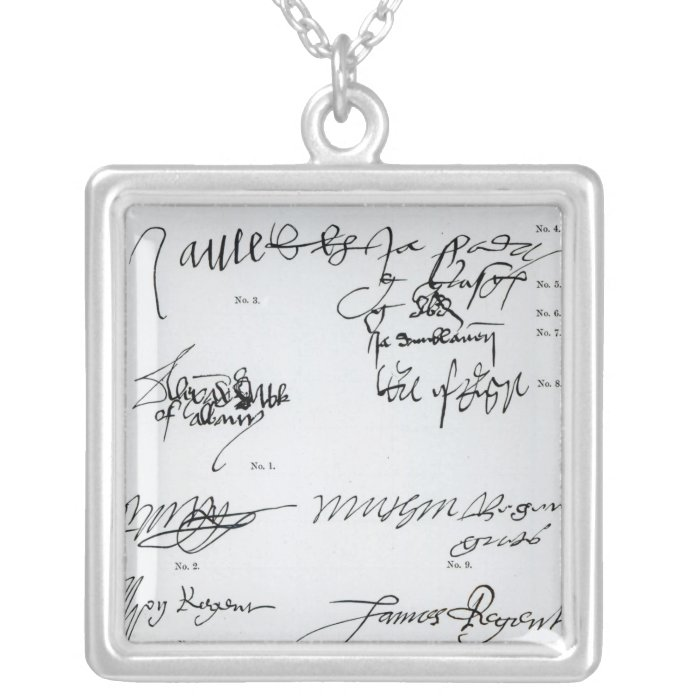 Signatures of Scottish 15th and 16th century Silver Plated Necklace