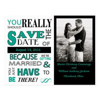 Signboard Save The Date  Postcard (Emerald)