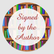 Signed by Author Book Shelf Pattern Classic Round Sticker