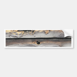 signed by the weather as old wood background bumper sticker