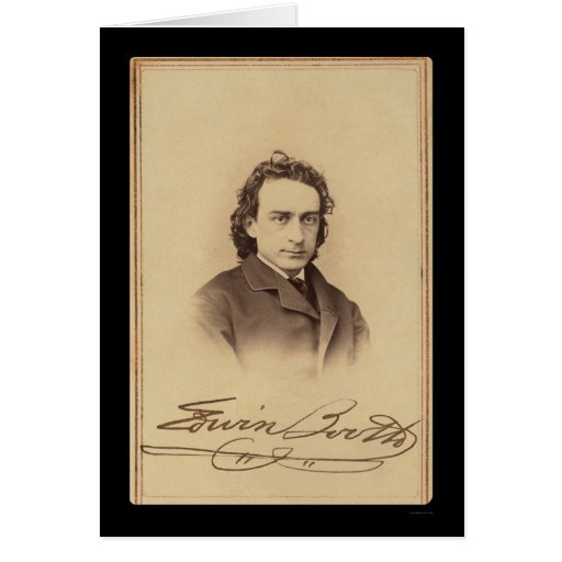 Signed Card of Actor Edwin Booth 1862