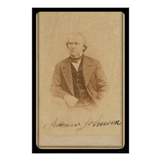 Signed Card of Future President Johnson 1860 Poster