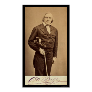 Signed Card of Violin Virtuoso, Ole Bull 1864 Poster