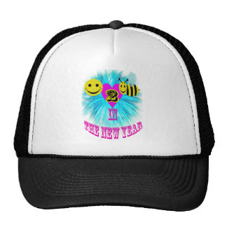 signed happy 2 bee in the new year. trucker hat