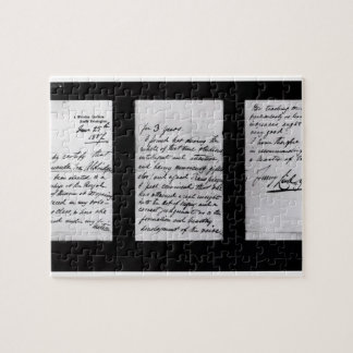 Signed letter, 1887 (pen and ink on paper) (b/w ph jigsaw puzzle