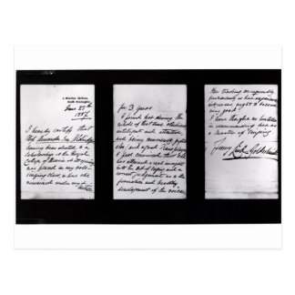 Signed letter, 1887 (pen and ink on paper) (b/w ph postcard