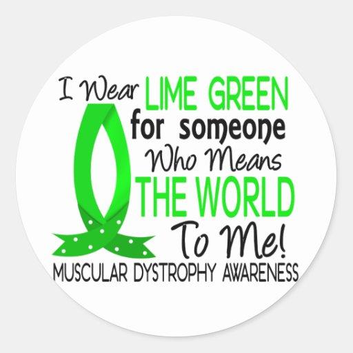 Significa el mundo a mí distrofia muscular pegatina redonda
