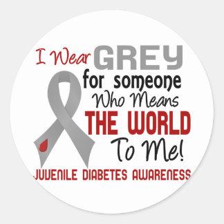 Significa el mundo a mí la diabetes juvenil 2 pegatina redonda