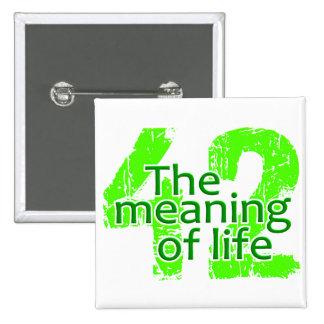 Significado 42 del botón de la vida pin cuadrado