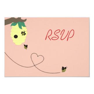 """Significado a la abeja que casa la tarjeta de RSVP Invitación 3.5"""" X 5"""""""