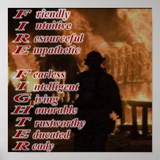 Significado de un poster del bombero