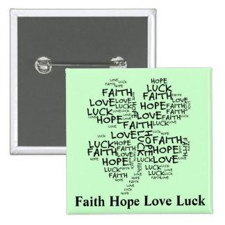 Significado del trébol de cuatro hojas: Esperanza, Pin Cuadrada 5 Cm