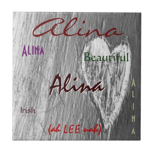 Significado irlandés conocido de Alina con el Azulejo Cuadrado Pequeño