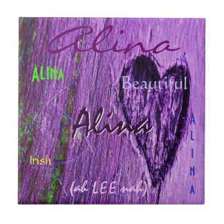 Significado irlandés conocido de Alina con Purple  Azulejo Cuadrado Pequeño