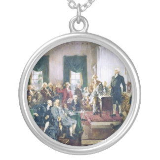 Signing of the Constitution by Howard C. Christy Round Pendant Necklace