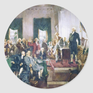 Signing of the Constitution by Howard C Christy Round Stickers