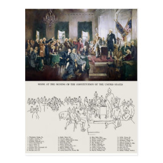 Signing of the Constitution with People Identified Postcard