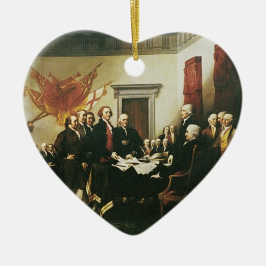 SIGNING OF THE DECLARATION OF INDEPENDENCE CERAMIC ORNAMENT