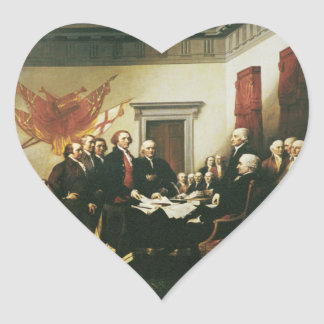 SIGNING OF THE DECLARATION OF INDEPENDENCE HEART STICKER