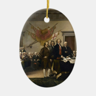 Signing of the Declaration of Independence Double-Sided Oval Ceramic Christmas Ornament