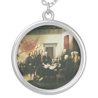SIGNING OF THE DECLARATION OF INDEPENDENCE SILVER PLATED NECKLACE