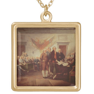 Signing the Declaration of Independence, 4th Gold Plated Necklace